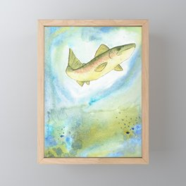 Watercolor Trout Framed Mini Art Print