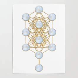 Tree of Life and Metatron Cube Synergy Poster