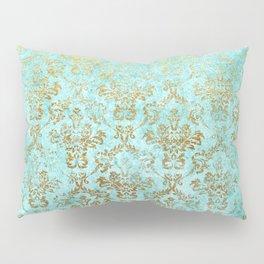 Mermaid Gold Aqua Seafoam Damask Pillow Sham