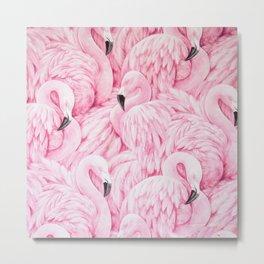 Elegant blush pink flamingo tropical bird pattern Metal Print