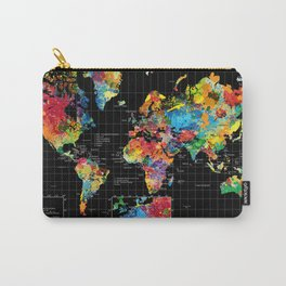 World Map Black - 1 Carry-All Pouch