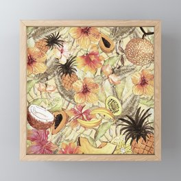 My Sepia Tropical Summer Hibiscus And Fruits Garden - Jungle Pattern Framed Mini Art Print