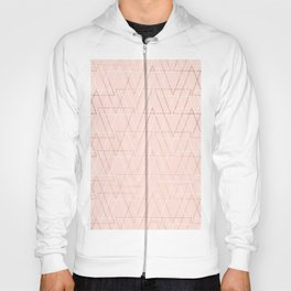 Modern white rose gold abstract geometric triangles on blush pink Hoody