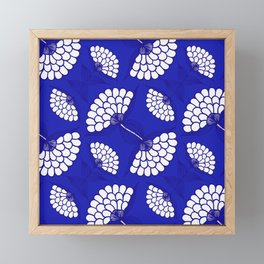 African Floral Motif on Royal Blue Framed Mini Art Print