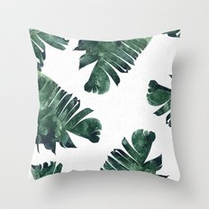 Banana Leaf Watercolor #society6 #buy #decor Throw Pillow