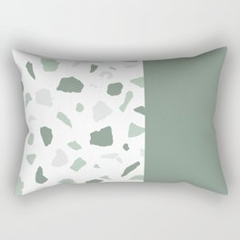 abstract terrazzo stone memphis pattern with colourblocking sage Rectangular Pillow