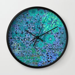 Teal Blue Abstract Art Collage Wall Clock