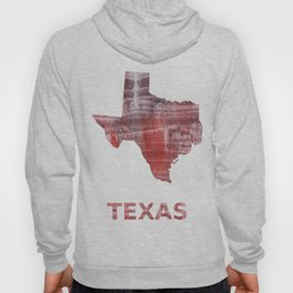 Texas map outline Striped red watercolor design Hoody
