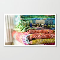 blankets Canvas Prints featuring Vintage Kantha Blankets by Nicole Jones