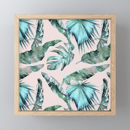 Tropical Palm Leaves Turquoise Green Coral Pink Framed Mini Art Print