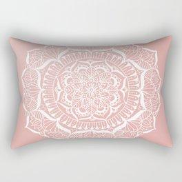 White Flower Mandala on Rose Gold Rectangular Pillow