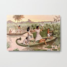 """Classical Masterpiece """"Egyptian Fowlers in Boat on the Nile"""" by Herbert Herget Metal Print"""