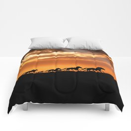 Horses in sunset Comforters