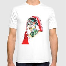 Indian MEDIUM White Mens Fitted Tee