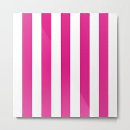 Barbie Pink (Pantone) - solid color - white vertical lines pattern Metal Print