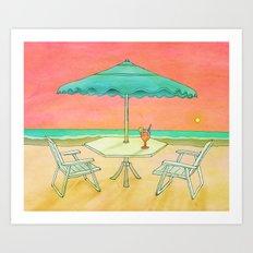 Beach Drink Art Print