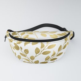 Gold Leaves on White Fanny Pack