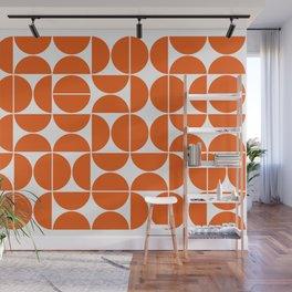 Mid Century Modern Geometric 04 Orange Wall Mural