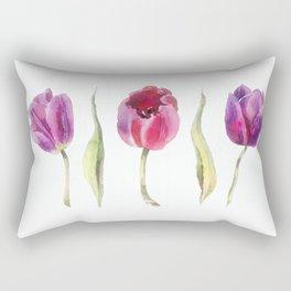 Three Spring Tulips Rectangular Pillow