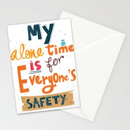 Alone time - Funny quote - Hand lettered Stationery Cards