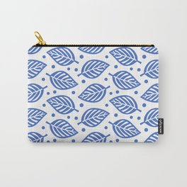 Mid Century Modern Falling Leaves Pattern Blue 2 Carry-All Pouch