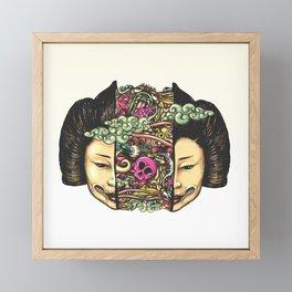 Split Head Gueisha Doodle Framed Mini Art Print