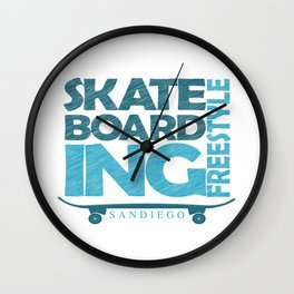 Skateboarding Freestyle San Diego Wall Clock