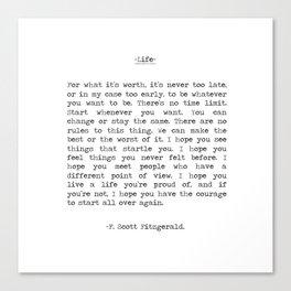 Life quote F. Scott Fitzgerald Canvas Print
