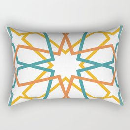 Orange Yellow Turquoise Geometric Tile Pattern Rectangular Pillow