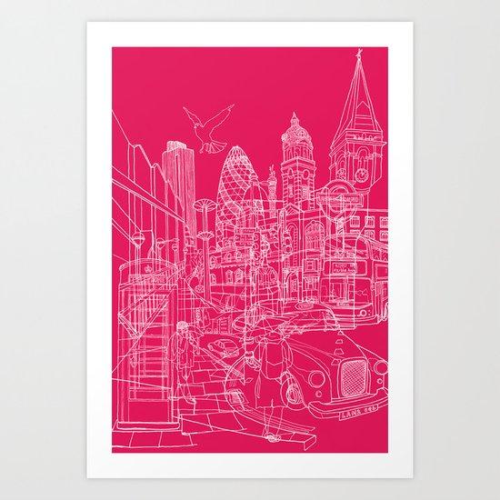 London! Hot Pink Art Print