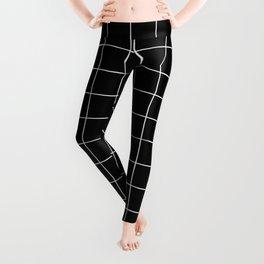 Grid Pattern Line Stripe Black and White Minimalist Geometric Stripes Lines Leggings
