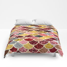 Glitter Gold, Pink and Red Mermaid Scales Pattern Comforters