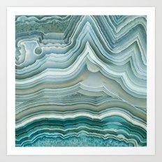 Agate Crystal Blue Art Print