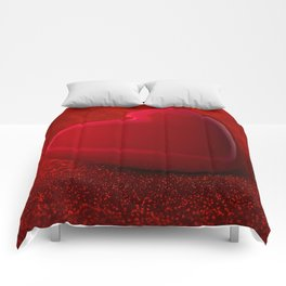 The red Heart shape on red abstract light glitter background Comforters