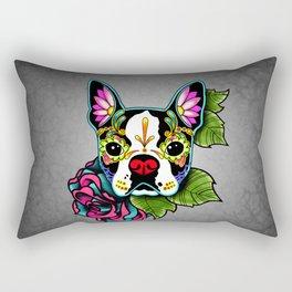 Boston Terrier in Black - Day of the Dead Sugar Skull Dog Rectangular Pillow
