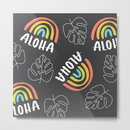 Aloha Monstera (Black Background) Metal Print