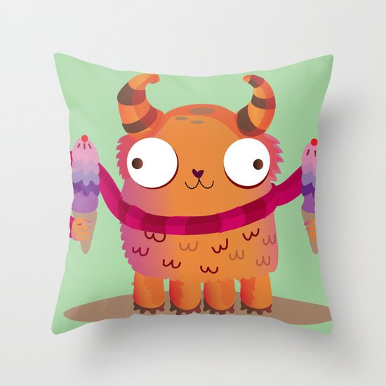 Icecream monster Throw Pillow