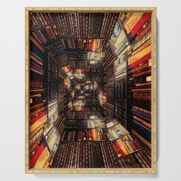 Bookshelf Books Library Bookworm Reading Pattern Serving Tray
