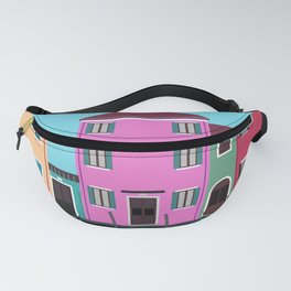Vintage Vector Burano, Italy Travel Poster Fanny Pack