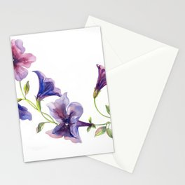 Watercolor branch of petunia. Stationery Cards