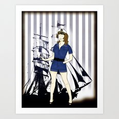 Navy Girl Art Print