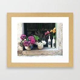 Flowers in the Window Sill in Rovinj Framed Art Print