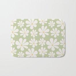 Floral Daisy Pattern - Green Bath Mat