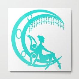 Fairy on Crescent Moon, Fantasy, Fairy, Fantasy Fan Metal Print