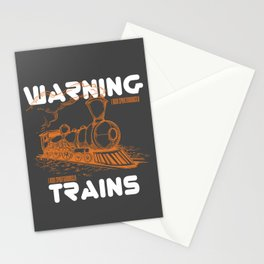 Train Shirt Warning May Spontaneously Talk About Trains Stationery Cards