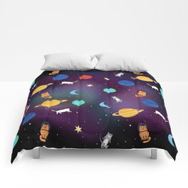 """""""Cats from outer space!"""" Galaxy Print Comforters"""