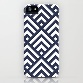 Navy Blue geometric art deco diamond pattern iPhone Case
