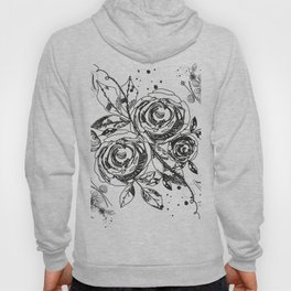 Summer time abstract black flowers. Nature theme. Abstract roses and flower Hoody