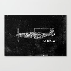 North American P51 Mustang (White) Canvas Print