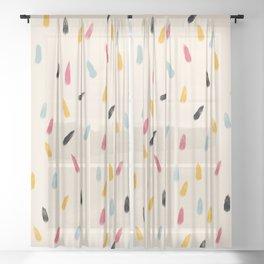 Abstract Colorful Retro Colored Rain Drops - Imugi Sheer Curtain